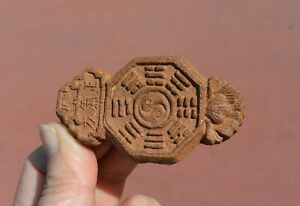 Old Chinese Herb Medicine Chenxiang Aloeswood Carved Pendant Plaque 紫金锭藥珠藥牌