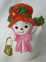 Vintage Mrs. Snowman Snow Lady Christmas Winter Napcoware Planter X-8833 GUC