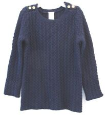NEW Gymboree Girls Sweater 5 6 Cable Knit Navy Blue Pullover Cotton Gold Buttons