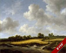 GOLD WHEAT FIELD & LARGE CLOUDS SCENIC LANDSCAPE ART PAINTING REAL CANVAS PRINT