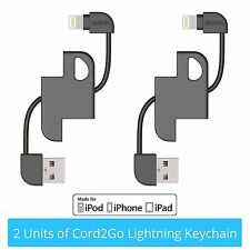 2x Skiva Cord2Go MFi Lightning Keychain Sync & Charge Cable for iPhone X (CB147)