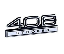 """Ford Mustang Black & Chrome 408 Stroker 4"""" Engine Size Fender Emblem"""