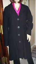 ADAGIO Womens Size S (40) 100% Wool Knit Coat Black Slimming Long