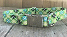 """L Dog Collar - Green Argyle Collar With Metal Buckle Large 15-22"""" Inch wide"""