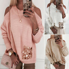 Ladies Womens Cold Shoulder Long Sleeve Sweater Loose Baggy Pullover Jumper Tops