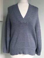 360 SWEATER Air Force Blue Soft Wool Jumper XS UK 8 NWT Slouchy Wide 3/4 Slvs