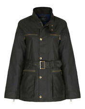 """Country Attire Dursley Waxed Unisex Jacket - 34"""" (Ladies UK 8) Olive"""