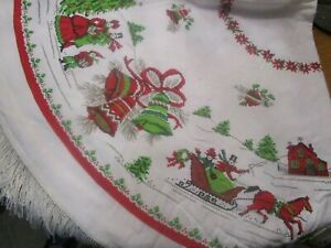 VINTAGE ROUND CHRISTMAS TABLECLOTH BELLS HORSE CAROLERS XMAS TREE & ORNAMENTS