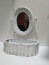 Vtg White Wicker Mirror With Shelf-Vanity Table Wicker Swivel Mirror Stand Boho