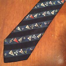 Vintage Louis Vuitton Cup Sailing Flags Silk Blue Necktie Tie - 9cm Width