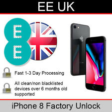 EE UK iPhone 8 Factory Unlocking Service (FAST 1-3 WORKING DAY SERVICE)