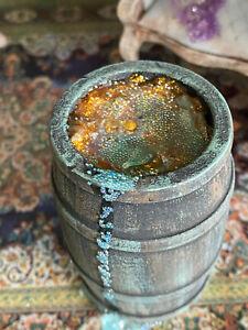 Vintage Miniature Dollhouse Haunted Patina Wood Barrel Gold Bubbling Potion Goo