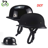 DOT German Style Motorcycle Half Helmet Open Face Cruiser Chopper Bike Skull Cap