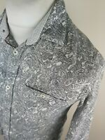 Mens Ted Baker Floral Paisley Baroque Bottly Shirt White Small 2 38 Chest