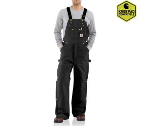 Carhartt R41 Mens Quilt Lined Zip To Thigh Bib Overalls Black 30X32 $100