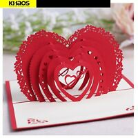 3D Pop Up Greeting Cards Cupid's Red Heart Valentines Day Love Gift Handmade