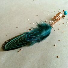 Feather dread bead turqoise feather for hair hair feather copper dreadlock bead