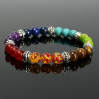 7 Chakra Healing Natural Stone Round Gemstone Yoga Energy Beads Bracelet Jewelry