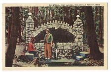 1944 Camp Nawakwa THE SPRING House Biglerville Pennsylvania LINEN Postcard PA