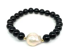 Meher's Jewelry Baroque Pearl & Obsidian Gemstone Beaded Stretch Bracelet.
