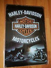 Harley Davidson Black Metal Sign Plaque Man Cave Beer Shed Garage Retro Scooter