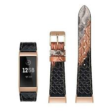 """Leather Band For Fitbit Charge 3 and 3 SE Snakeskin Size Small 5.6""""-7.5"""" Snake"""
