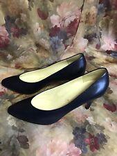 Womens 7.5 N Vtg 1950's Garolini Navy Blue Leather Pumps Shoes High Heels Italy