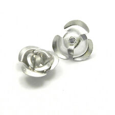 Lot of 100 Aluminum 10mm x 6mm Rose Bud Shaped Metal Flower Beads w/ Center Hole