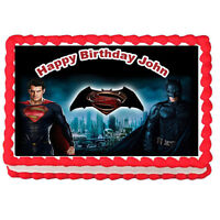 "Batman vs Superman Edible image Cake topper decoration-7.5""x10"""