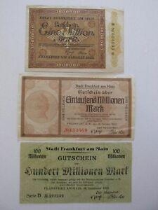 1923 Frankfurt am Main Hyper-Inflationary Notes Lot of 3