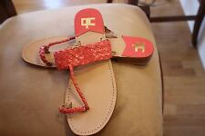 NWOB COURAGE.B Coral Woven Thong Sandal Flat Shoes Sz EUR 40 US 10