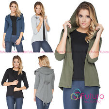 Ladies Hooded Blazer With Pockets Cape 3/4 Sleeve Jacket Parka Size 8-12 FT2060