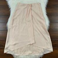 Vince Women's Size 2 Oat Blush Pink Twist Drape Midi Skirt