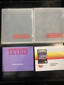 2 White NES Nintendo Plastic Cartridge Case Dust Cover, Tetris & Jeopardy Manual
