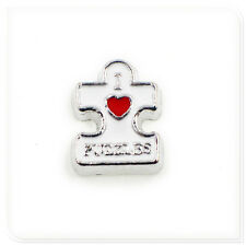 New 10pcs I LOVE PUZZLES Floating Charms For Living Glass Memory Locket FC1566