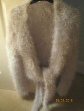 Fluffy Cardigan,tie front,bolero,Silvery White HANDMADE,soft chunky,knit,10/12