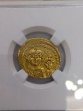Byzantine Empire Solidus Ad 613-641 Heraclius+Her.Constantine Ngc Au