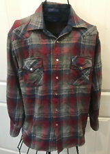 Pendleton Western Shirt Medium Blue Red Gray Plaid Wool Snaps