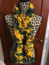 NEW Handmade Crocheted Ruffle Scarf Green Gold Green Bay Packers William & Mary