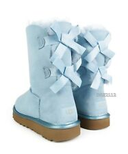 UGG Bailey Bow II Metallic Sky Blue Suede Fur Boots Womens Size 5 *NIB*