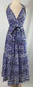 Womens Moda International Ruffle Silk Floral Halter Maxi Dress Size S