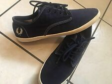 Mens FRED PERRY Fox Twill Canvas Trainers Plimsolls Pumps UK 8