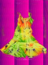 G4✪ Hippie Batik Kleid Woodstock 70er Jahre Blumenkinder Boho orange grün Gr. S