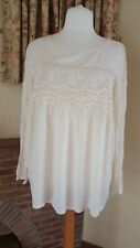 CREAM CRINKLE LACE DETAIL TOP FROM NEXT - SIZE 20 - NEW SUMMER BNWD