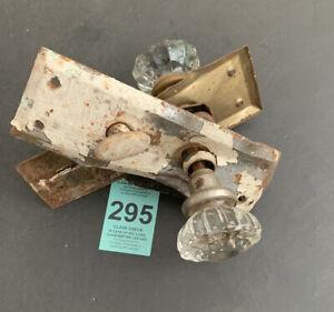 Vintage 12 Point Crystal Glass Door Knob Set W/Spindle Plates For Restoration