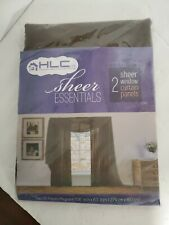 """Hlc.me Sheer Essentials (2) 108"""" X 63"""" Sheer Chocolate Brown Curtain Panels"""