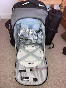 Picnic Hamper Rucksack With Crockery, Insulated Food Section, Picnic Rug