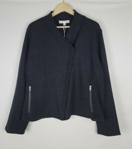 Adyson Parker NWT Asymmetrical Zip Up Moto Sweater Jacket Black Pockets Plus 2X