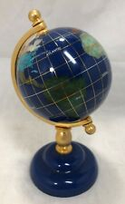 World Globe Tripod Stand Map Atlas Hand Crafted Gemstone Semi-Precious Jewels 6""