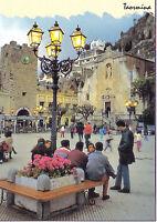 CARTOLINA SICILIA SICILY POSTCARD TAORMINA  PIAZZA 9 APRILE